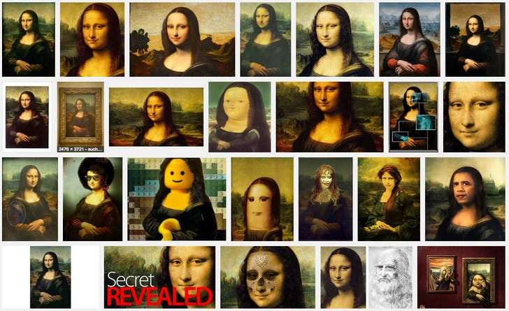 A Google image search of the Mona Lisa by Leonardo da Vinci, one of the most reproduced images in history that still draws massive crowds to its physical iteration.