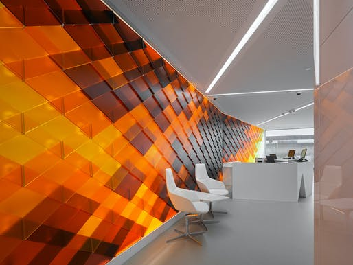 Interior of INSIDE-OUT, the design concept for the new Schaffhausen Raiffeisen Bank branch by NAU Architecture and Drexler Guinand Jauslin Architekten. Photo: Roger Frei, Zurich