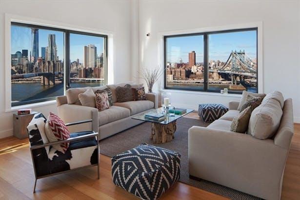 The Clock Tower - living room overlooking the Brooklyn Bridge and the Manhattan Bridge