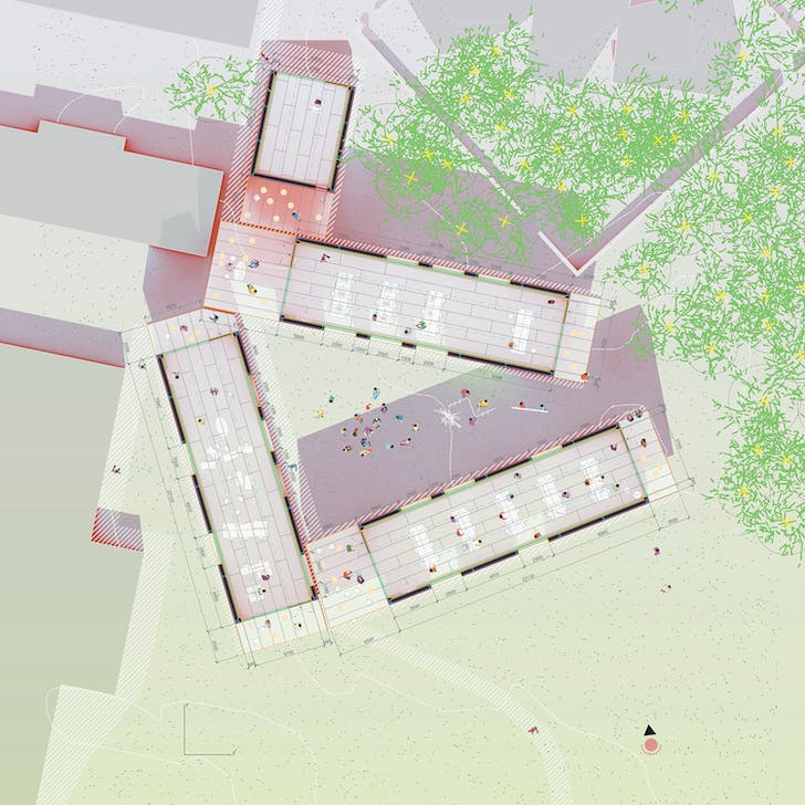 An illustration that shows the arrangement of Krabbesholm's recently constructed facility. Drawing courtesy of MOS Architects