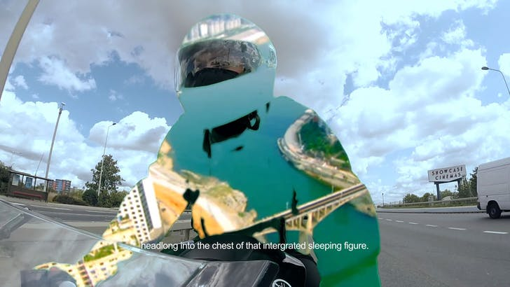 Two stills from Melia's 'Lamassu Flats,' which utilizes a green-screen motorcycle outfit to project images and sequences on to the rider as he passes through the city. Credit: Melia