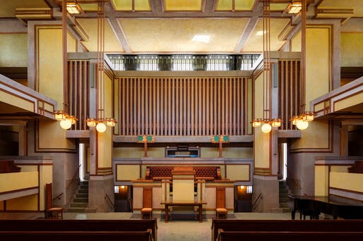 2018 WMF/Knoll Modernism Prize Special Mention: Harboe Architects for the preservation of the Unity Temple in Oak Park, Illinois, by Frank Lloyd Wright. Photo courtesy World Monuments Fund.