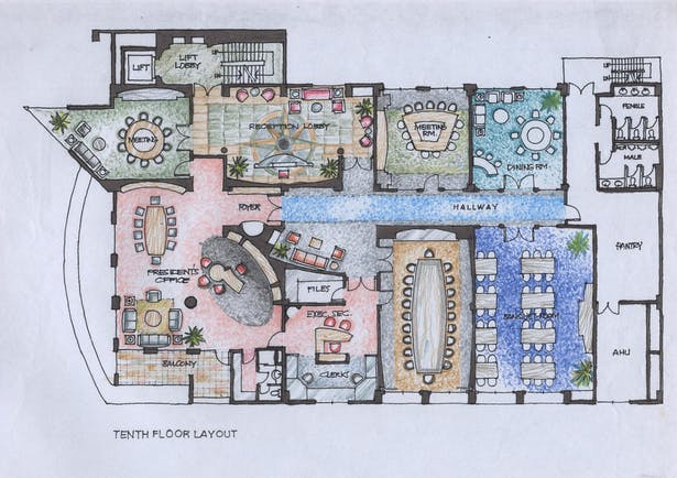 Typical Office Interior Decoration Layout