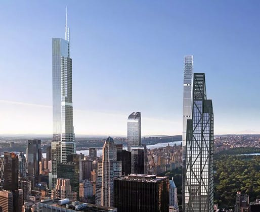 Rendering of Manhattan's supertall future with 217 West 57th/Nordstrom Tower sitting prominently on the left. (Image via newyorkyimby.com)