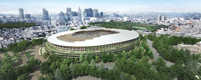 Sorry Zaha, it's Kengo Kuma's new proposal which will welcome the world in 2020 for the Tokyo Olympics. (Image: Japan Sports Council)