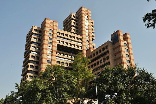 Post-Independence Architecture of Delhi, India. The State Trading Corporation Building (1989) was designed by Raj Rewal, architect of the now-demolished Delhi Hall of Nations, 2017. Photo: INTACH Delhi