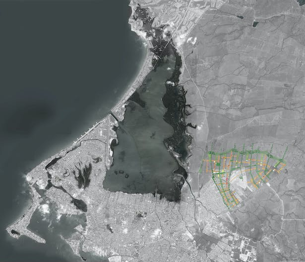 Location map. Dryfo Urbanism lays the framework for both informal and formal infill providing shade and public space of character while protecting the 'arryos' and streams entering the Cienaga De La Virgen