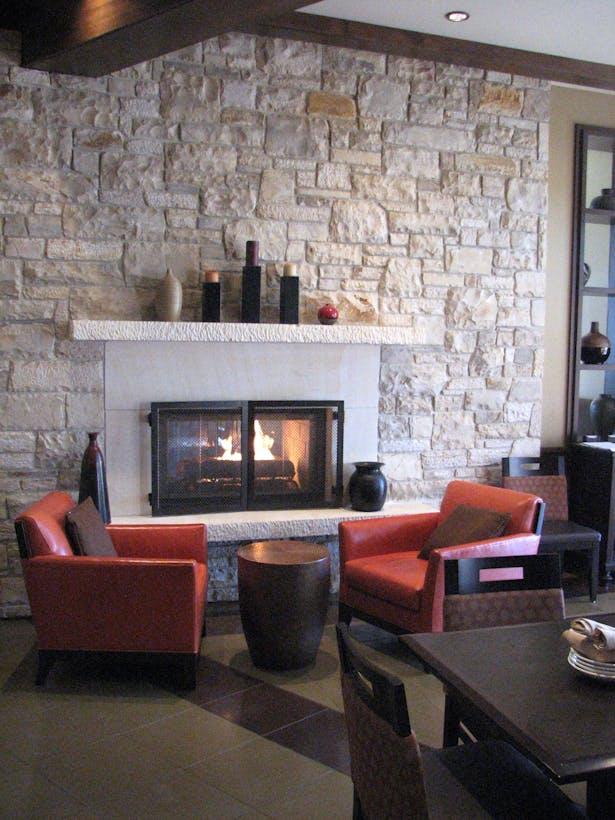 Custom-built fireplace at Bar Lounge