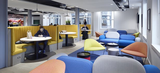 Bright colours are used for open work spaces