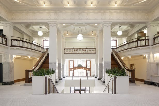 Renovated second floor lobby - historic features were refurbished or reconstructed.