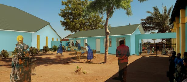Rendering of the vocational courtyard. Left to right: new church building, vocational classrooms, entry gate, and existing church building.