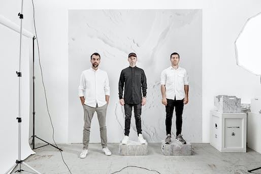 Snarkitecture: Alex Mustonen, Daniel Arsham, and Benjamin Porto (from left). Photo by Noah Kalina.