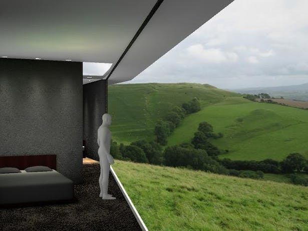 Interior Render - view of countryside from unit