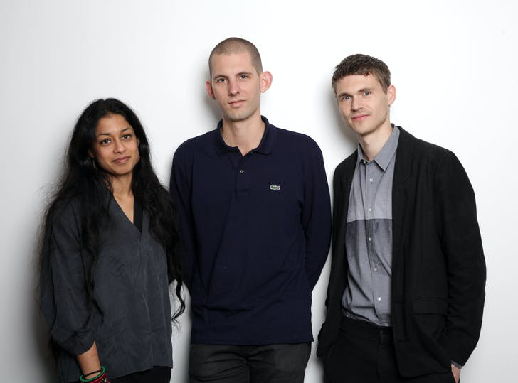 Curators Shumi Bose, Jack Self and Finn Williams, photo by James O Jenkins, courtesy British Council.