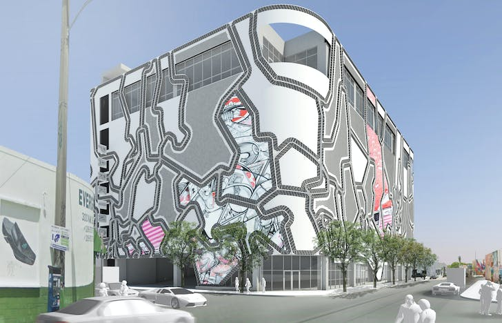 Wynwood Facade Blankspot Infill: close-up view, artist shown HOW&NOSM (at NW 2th Street and NW 3rd Ave). Courtesy of Faulders Studio.