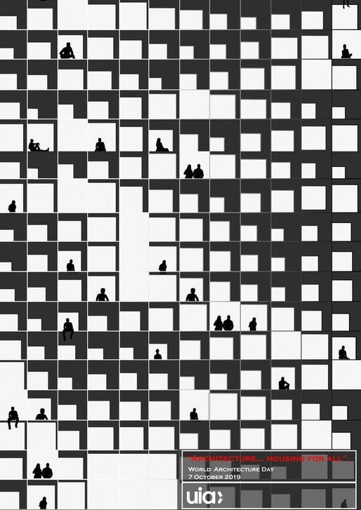"""Winning design of the UIA 2019 World Architecture Poster Competition, """"Architecture...housing for all"""", by Huda Gharandouqa (Jordan). Image via UIA/Facebook."""