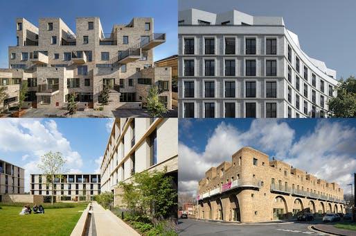 Clockwise from top left: 95 Peckham Road © Morley von Sternberg; Blackfriars Circus © Tim Crocker; McGrath Road © Morley von Sternberg; Key Worker Housing © Jack Hobhouse.