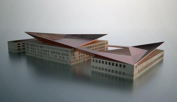 AQSO arquitectos office. Industrial museum. Model