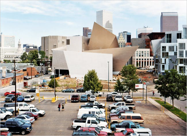Daniel Libeskind's Frederic C. Hamilton Building of the Denver Art Museum, center; his Museum Residences are to the building's right - photo by Domingo Milella for NYT