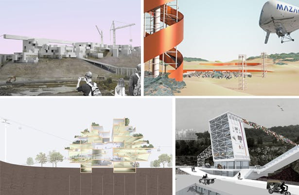 "Renderings by Pratt Institute graduate architecture students, clockwise from upper left: Mixed-use business and cultural district by Jeffrey Autore; dynamic landscapes and event spaces, including towers and a solar airplane by Joselia Mendiolea; ""transit materials lab"" interactive facility by Masha Pekurovsky; housing which blurs boundaries between indoors and outdoors by Hsing-Chung (Mike) Su."