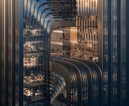 Closeup of ZHA's CECEP Shanghai HQ proposal. Render by Negativ.