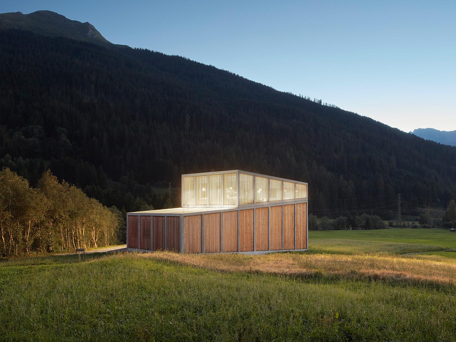 Hydroelectric Power Station, Ragn Du0027Err Berner Kraftwerke. Architect:  Cangemi Architekten. Location: Chur, Switzerland. Photo: Ralph Feiner.