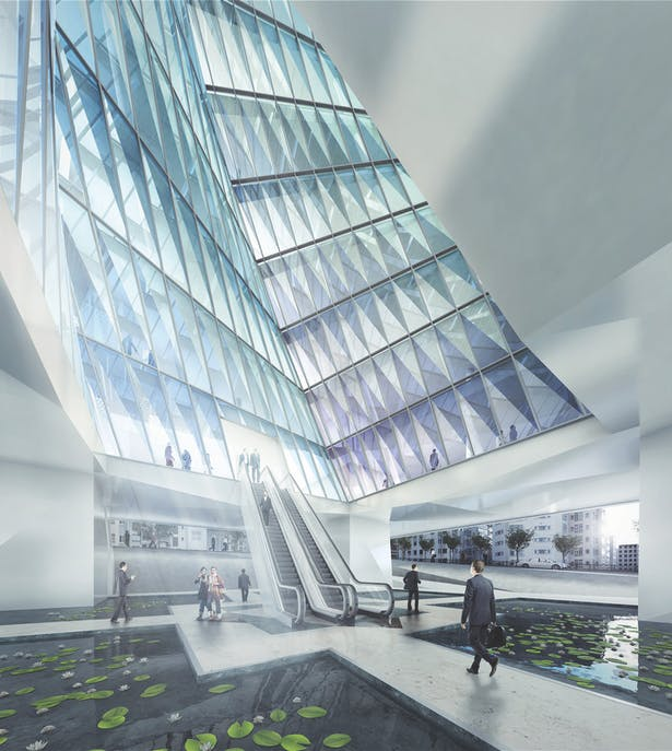view from Ground level plaza toward the rotating void, 3D rendering