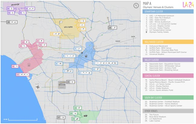 The LA 24 proposal for Olympic 'clusters.' Credit: LA 24