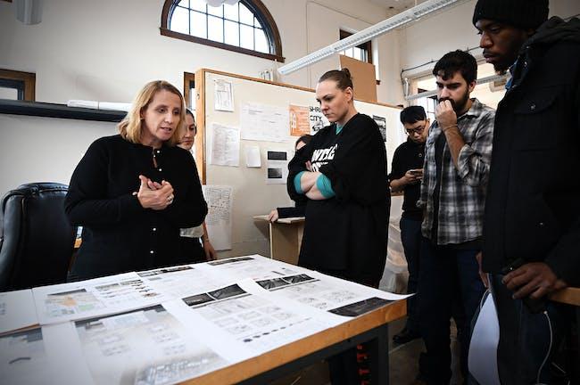 Catalina Freixas leading the 'Segregation by Design' studio. (Photo: James Byard/Washington University)
