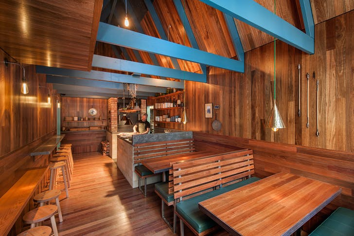 The interior of the Saloon's eatery combines local woods and stone.