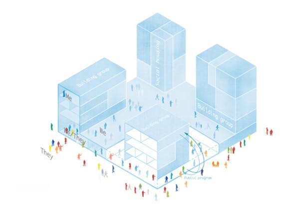 Building groups create public functions in their plinth and contribute to the liveliness of their neighborhood