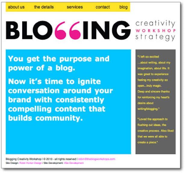 Website for Blogging Workshops