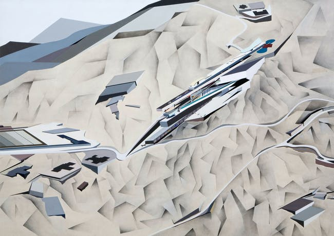 A painting in the 'Peak' series by Zaha Hadid. Image via http://www.arcspace.com/