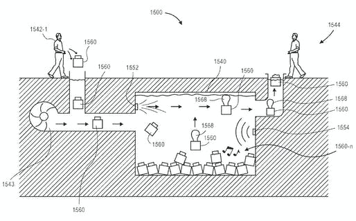 "Illustration from Amazon's recent patent for ""Aquatic Storage Facilities"". Image via United States Patent Office."
