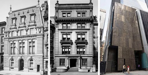 The Blumenthal house, left, and the Barbour house, center, both on 53rd, fell for MoMA. The museum has plans to raze the American Folk Art Museum.