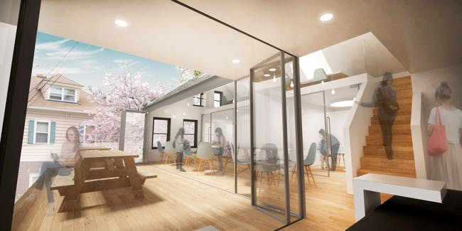 Internal spaces opening out onto terrace. Image via go-design.co