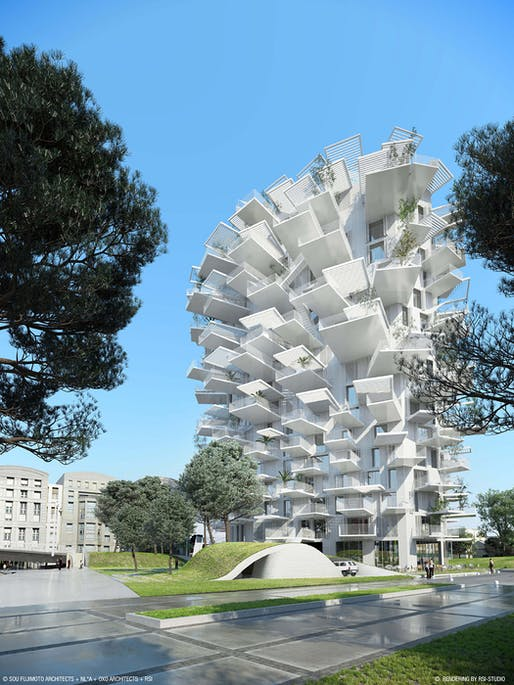 White Tree in Montpellier, France, designed by Sou Fujimoto Architects; Laisné Roussel; OXO Architectes. Image: Sou Fujimoto Architects + Nicolas Laisne Associates + Manal Rachdi Oxo Architects