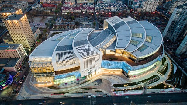 Olympia 66 in Dalian, China by Aedas - Aerial Night View