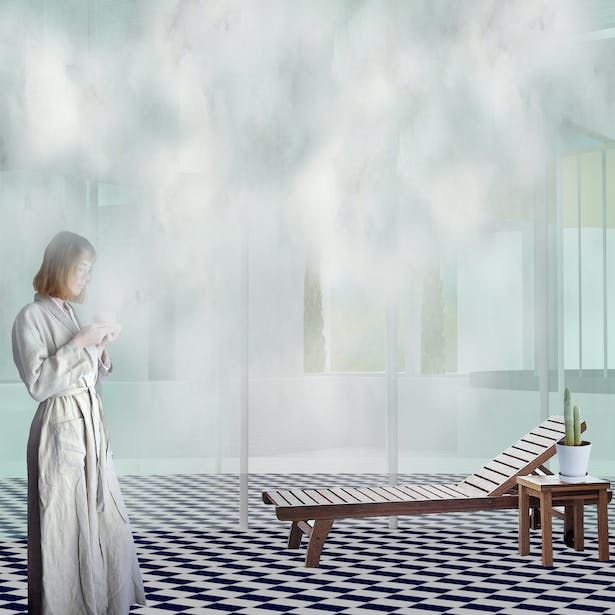 The Humid Pavilion: The pavilion connects the user to the physical properties of weather and atmosphere. Here the user recognizes that air is not empty, but contains water particles – The steam in the room causes sweat and deep breathing, as the user encounters an extreme experience of weather.