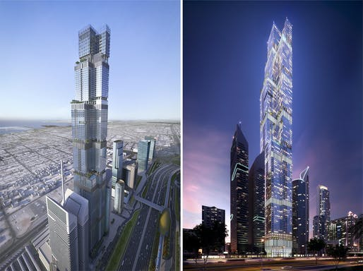 Renderings of an earlier proposal for Entisar Tower — new finalized designs by Atkins will be released soon. Image © AE7.