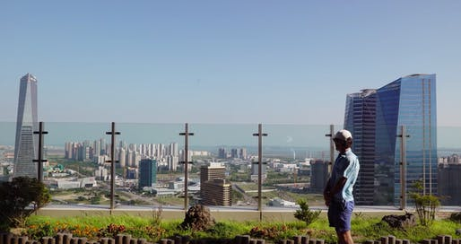 Screenshot from Oscar Boyson's 'The Future of Cities', overlooking construction in Songdo, South Korea.