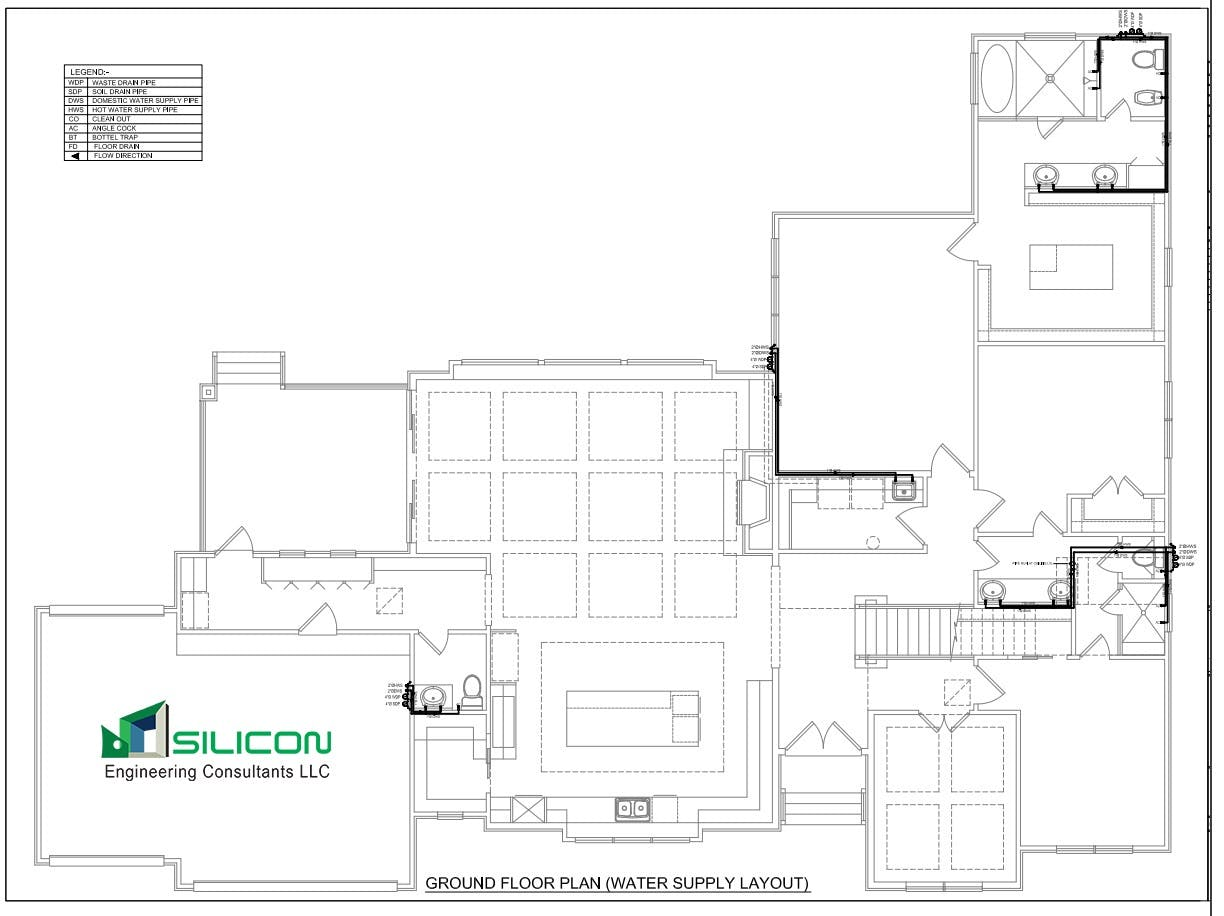 Plumbing Piping Cost Estimation Outsourcing Work Drawing Layout