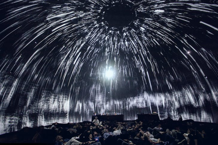 The night of June 3rd, Immersion Experience Symposium 2016, Montreal, Canada. Premiere of 'Morphogenesis' at SAT's dome 'Satosphere,' the very first immersive modular theatre, dedicated to artistic creation. photo by SebastienRoy.ca