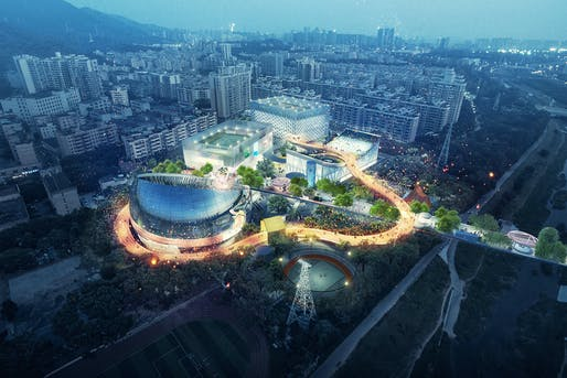 MVRDV + Zhubo Architecture Design's winning scheme for the Xili Sports and Cultural Center. Image © MVRDV.