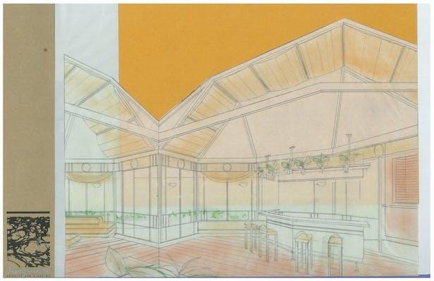 Club House   Interior Hand-Sketch