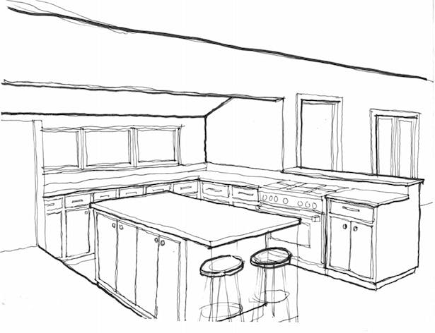 revised and re-oriented kitchen