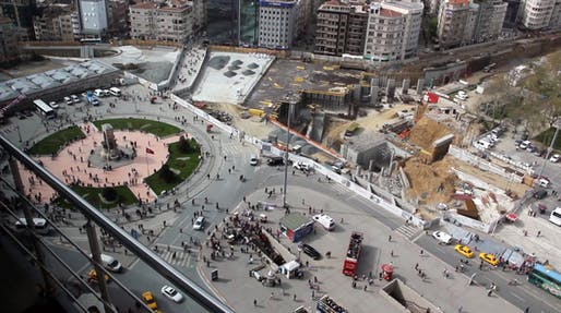 Taksim Square in construction, victim of the government's pedestrianization scheme that will render it impotent as a space for political demonstration. Roads leading to the square will become tunnel entrances, making marches impossible and defense by the police easy, as we witnessed in this wave of protests. Photo: Christian Pichlkastner