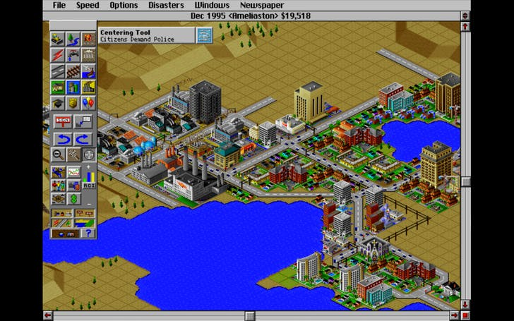 Screenshot from SimCity 2000. Credit Amelia Taylor-Hochberg (although I didn't design the city).