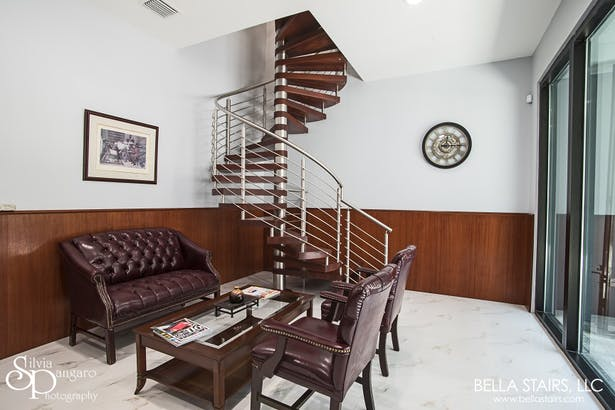 A spiral staircase is a perfect solution for any compact space.
