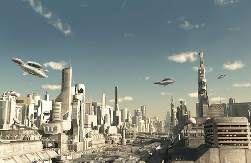 "This futuristic city scene illustration allows a first (vague) glimpse at the proposed multipropeller CityAirbus vehicle. Widespread adoption of this autonomous ""drone taxi"" is supposedly just around the corner, according to Airbus. (Image courtesy of Airbus Group)"
